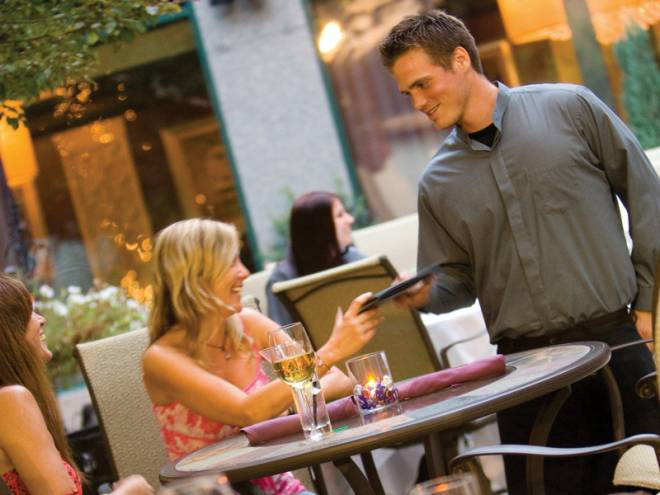 Aspire's downtown courtyard is the perfect setting for an outdoor meal