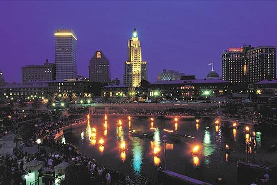 Enjoy the partial lighting of Providence's unique Waterfire basins