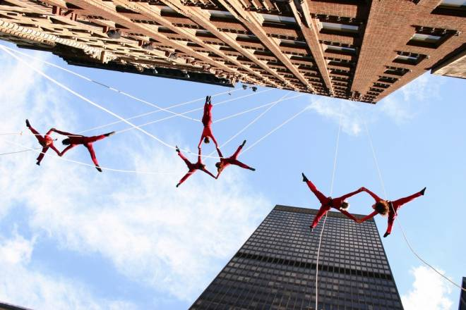 Bandaloop (pictured here in New York City) will be performing at the FirstWorks Festival on September 29