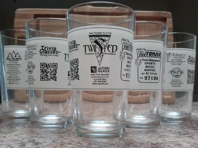 Trivia Glasses at Filippou's Twisted Pizza in East Greenwich