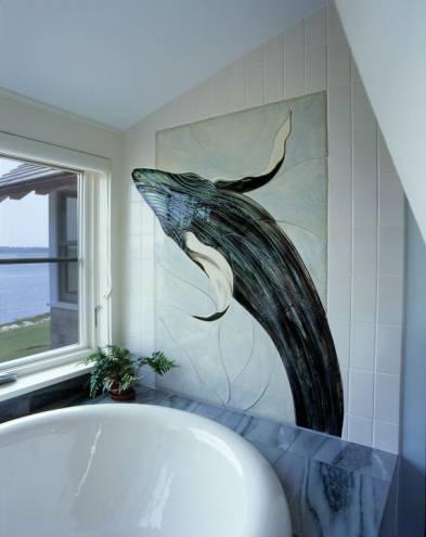 Breaching Whale, custom designed & installed ceramic by Pat Warwick