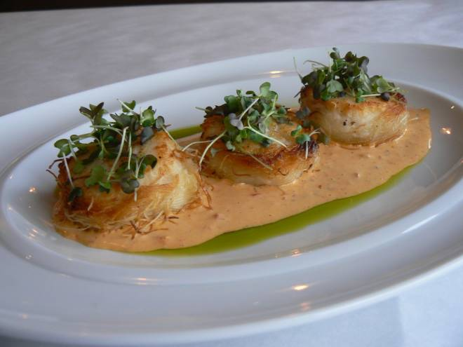 Sea Scallops wrapped in Kataifi pastry with cherry pepper-bacon aioli