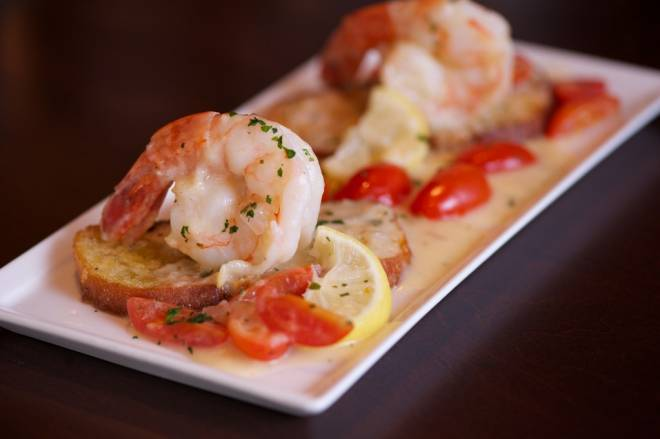 Shrimp Sinatra - Jumbo Shrimp, lemon white wine butter sauce over Italian toast