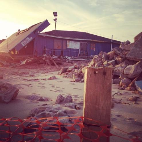 Post-Sandy destruction at Misquamicut Beach in Westerly