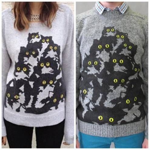 Providence designer Joseph Aaron Segal's original cat sweater at right, and California clothing company LF Laguna's knockoff at right