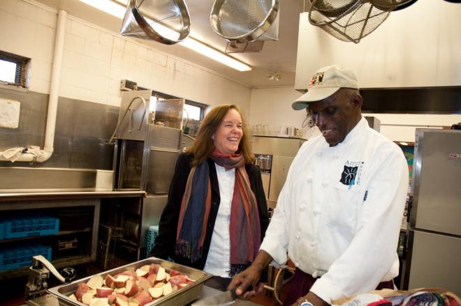 Chef John in the kitchen at Amos House