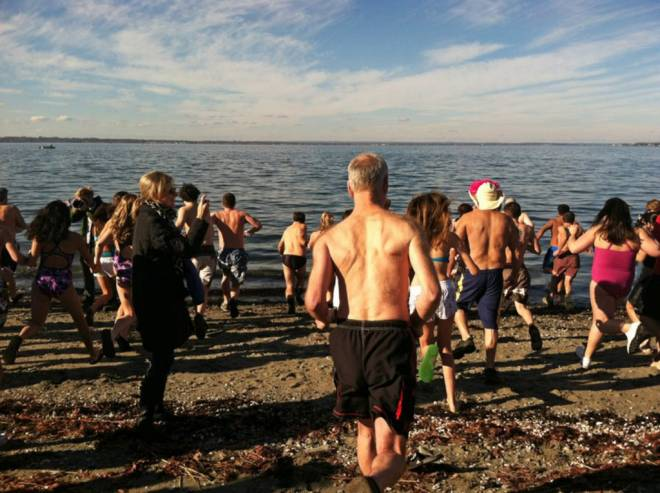 The Winter Wish Swim at Bristol Town Beach on January 1
