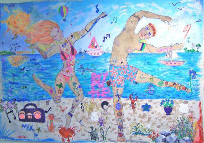The Aloha Luau mural celebrating Misquamicut Beach