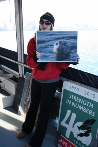 Save the Bay's Education Specialist Jen Kelly educates the public on seals in Narragansett Bay