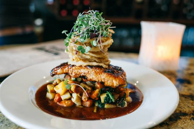 Apple cider salmon with roasted root vegetables