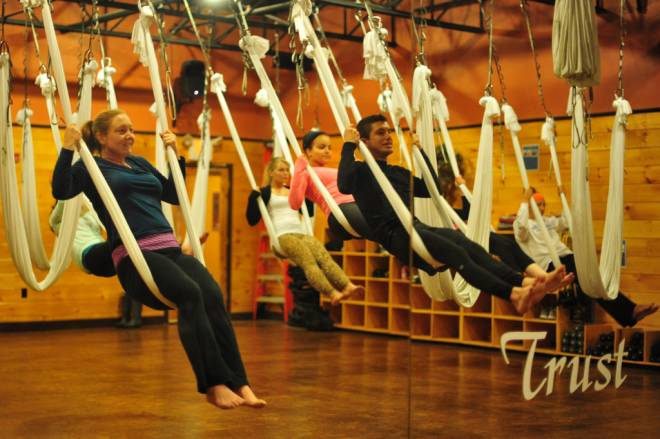 Anti-gravity yoga at Raffa Yoga
