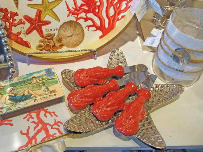 Flatware accessories up the ante at any picnic. Lobster Butter Knives $6.50 each, Starfish Nickel Plate $18