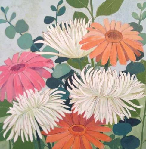 Kathrine Lovell, Tiverton I work with nature forms, landscapes, and sophisticated geometrics in richly layered colors.