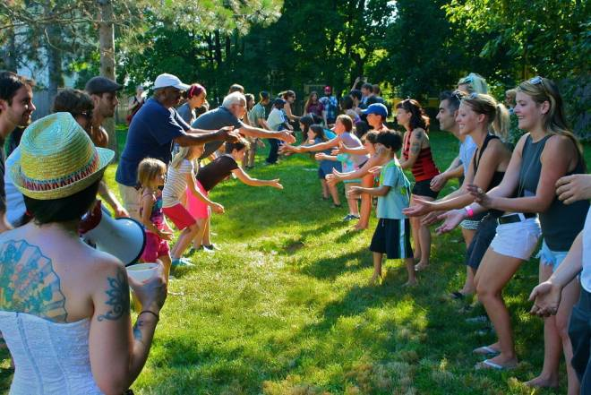 Enjoy kid-friendly games like egg toss at the 4th annual WBNA Block Party on the West Side of Providence