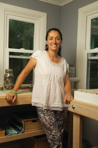 Georgie Hittti Combs the beaches of Jamestown for her raw materials