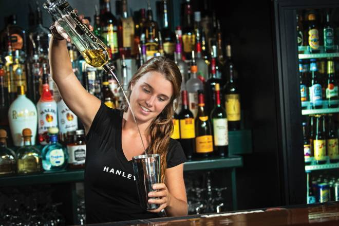 Julia Shackleton mixes up her signature cocktail at Hanley's ale House & Cigar bar