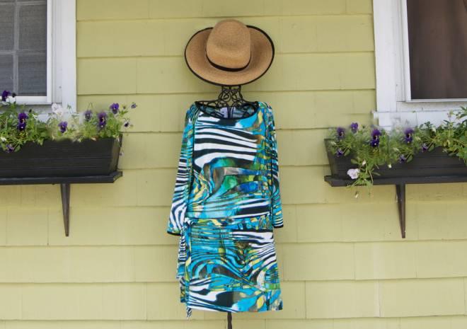 Long sleeved aqua and zebra print dress, $126