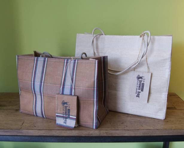 Brown bag totes: large $165, medium print $135
