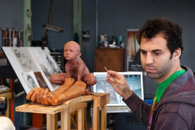 Sculptor Jesse John Thompson at work on his latest series, Dress-Up