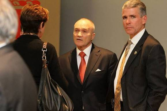 NY Police Commissioner Ray Kelly (pictured at center, with Providence Public Safety Commissioner Steven Pare at right) had his lecture at Brown canceled when it was interrupted by protests