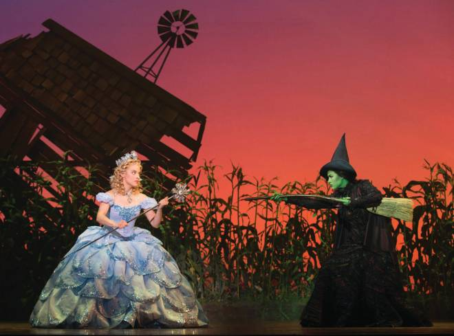 Jenn Gambatese and Alison Luff as Glinda and Elphaba in Wicked playing at PPAC January 2-12