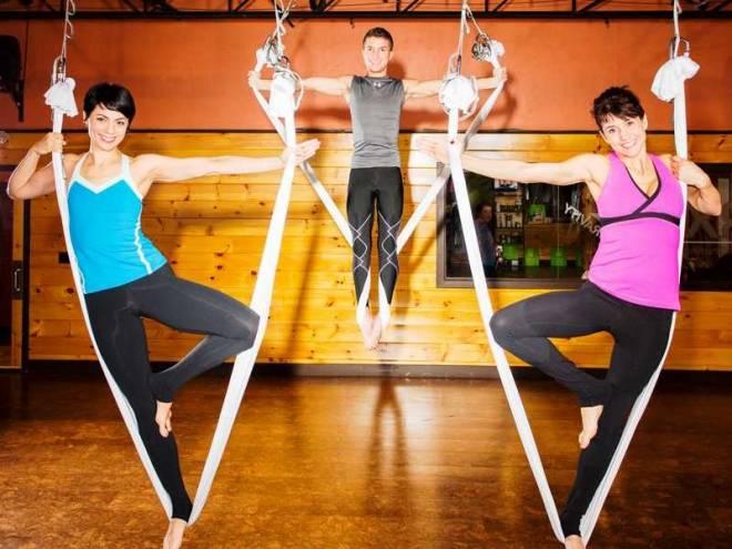 Fly away at anti-gravity yoga at Raffa Yoga in Cranston