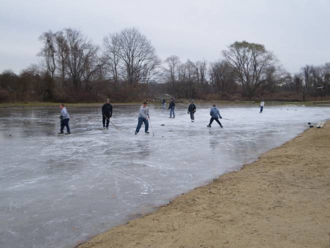Pond hockey is a popular past time on the ice rink on Legion Way