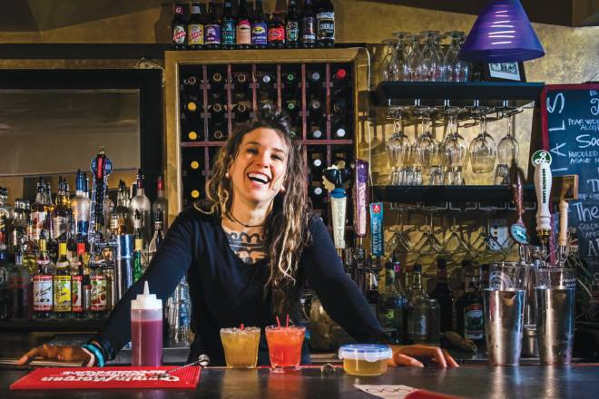 Find angela Lentz mixing it up at Powers Pub