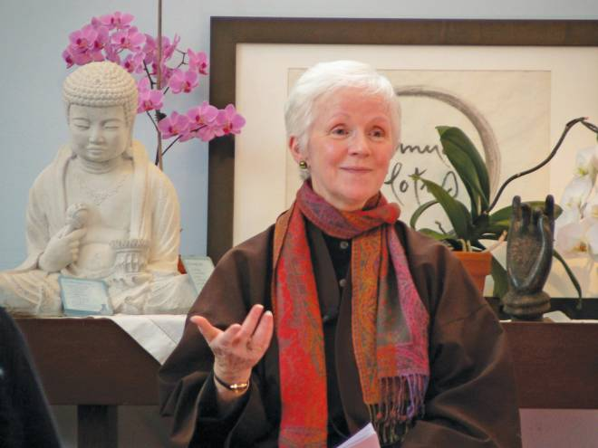 Joanne Friday giving a Dharma talk