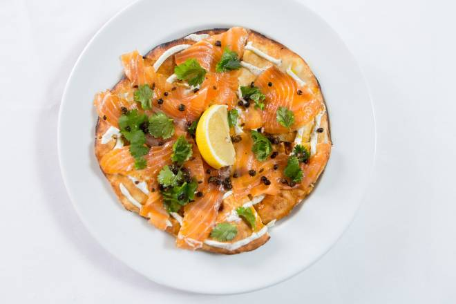 Smoked Salmon Naan Pizza