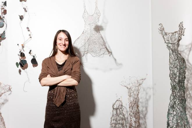 Sue Freda and her delicate wire dress creations