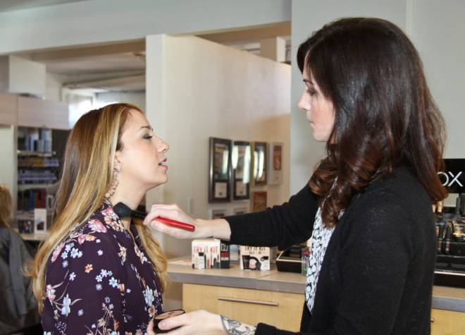 Makeup artist Amanda at the Beauty Bar at Bristol's New Leaf