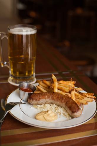The Jagerwurst is served with fries and sauerkraut