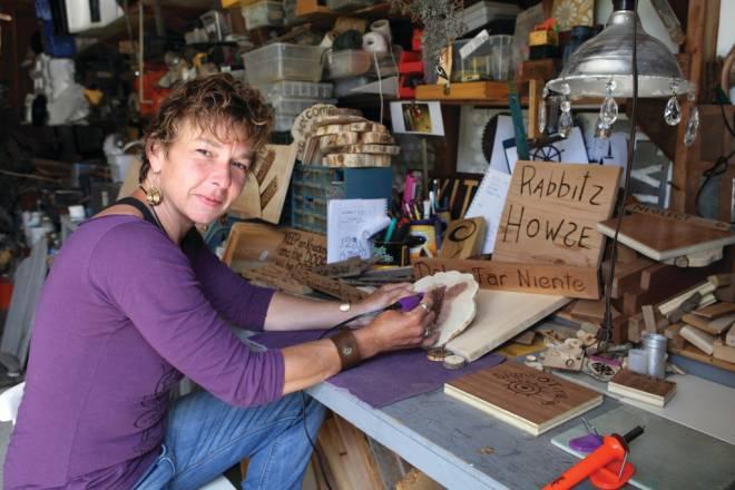Karen Stackow in her garage workshop