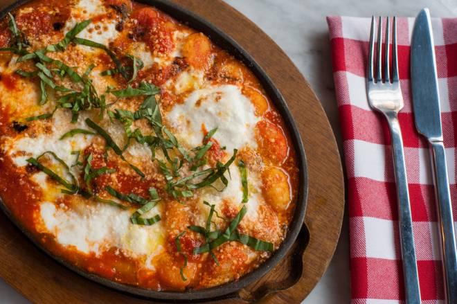 Gnocchi Sorrentina baked with tomato, burrata and basil