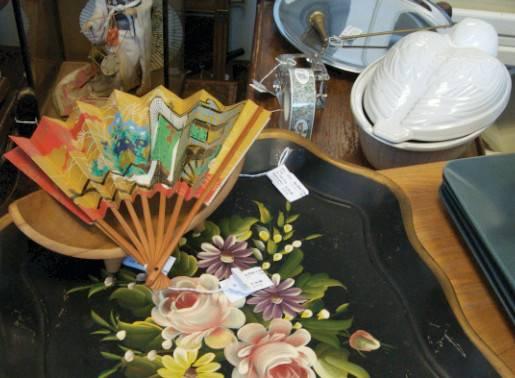 Oriental fan, $11.55; Flowered trolley tray, $34.65