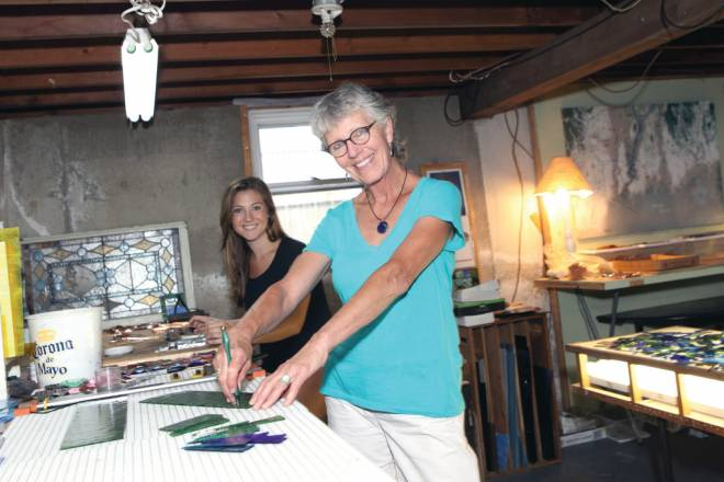Lynne Lovely and daughter Amy at their home studio