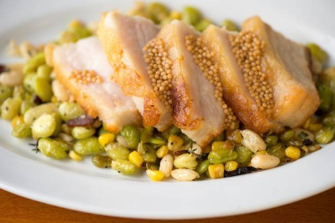 Pork Belly with mustard seed, succotash and fresh herb (The Salt Marsh)