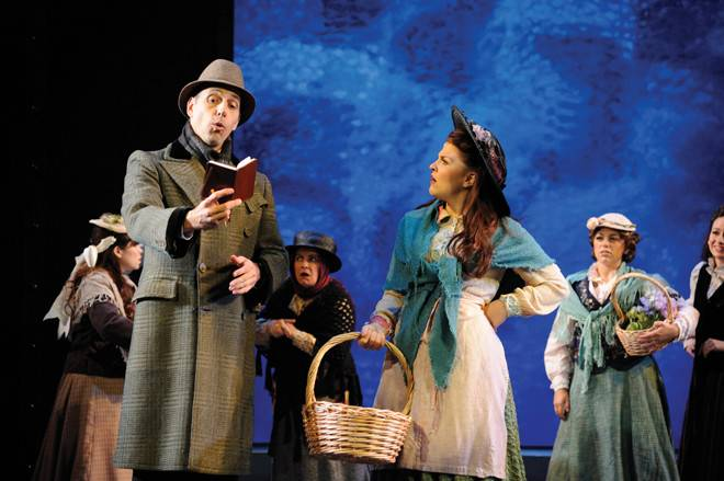 Professor Henry Higgins, played by Richard Costa and Eliza Doolittle, played by Jessica Wagner
