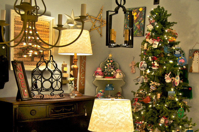 Assorted ornaments, $4-$7.99; Black bureau, #300; NOEL frame, $12.99