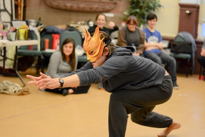 Actor Jed Hancock Brainerd practices moving with a mask for Morality Play