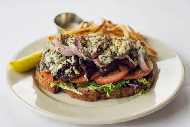 Grilled Open-Face Hanger Steak Sandwich