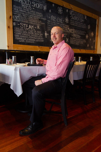 Steve Lannon gets in the spirit at Pizzico in Barrington