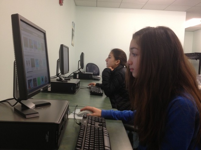Girls Who Code club takes place at the Rochambeau branch of the Providence Community Library