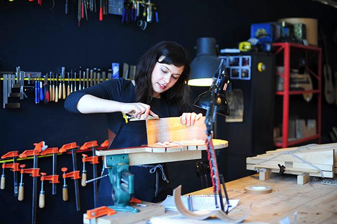 Artist Rachel Rosenkrantz at work in her Pawtucket studio