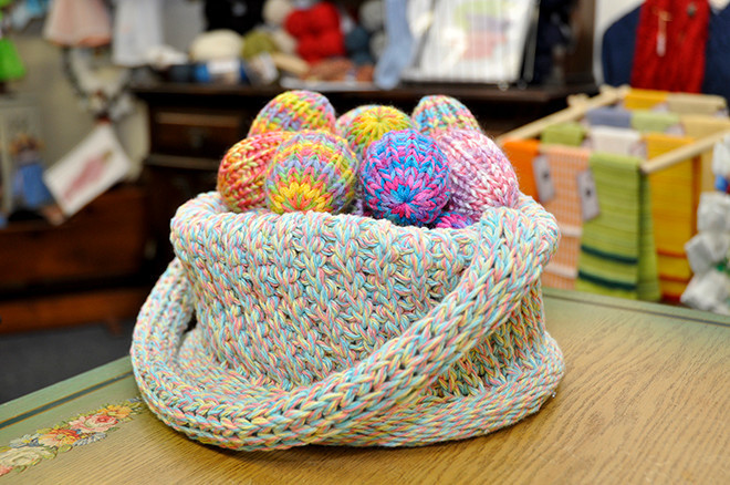 Knitted basket, $27; Knitted eggs, $20/dozen or $2.50 each