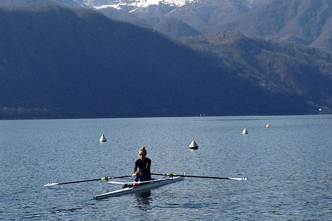 Brigid Kennedy rows to victory over Italy's Lake Orta