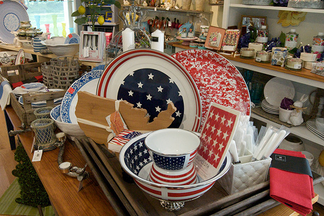Seasonal enamelware – $6.50-$58; USA shaped cutting board – $28