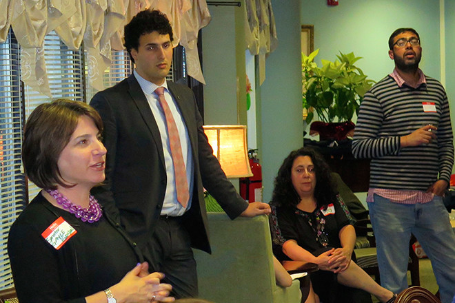 State Senator Gayle Goldin and Representative Aaron Regunberg discuss their legislative agendas at the SNA meeting on May 20