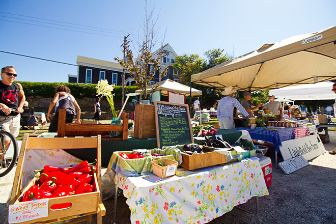 The Block Island Farmers Market happens every Wednesday and Saturday on Ocean Ave.